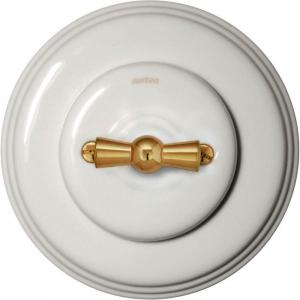 Fontini rotary switch - White porcelain brass knob