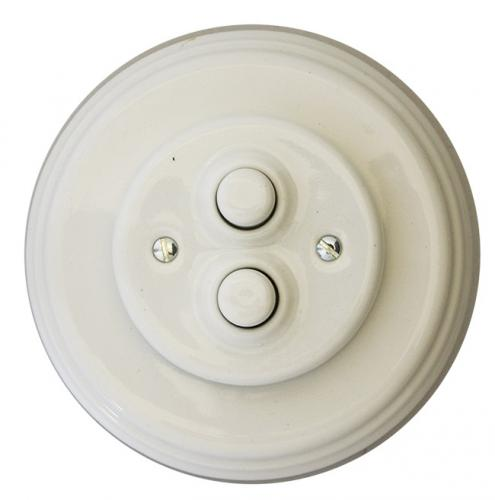 Dimmer Fontini - White porcelain double push button