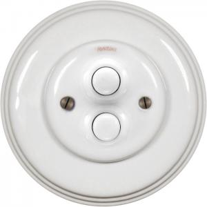 Oldstyle Dimmer Fontini - White porcelain double push button