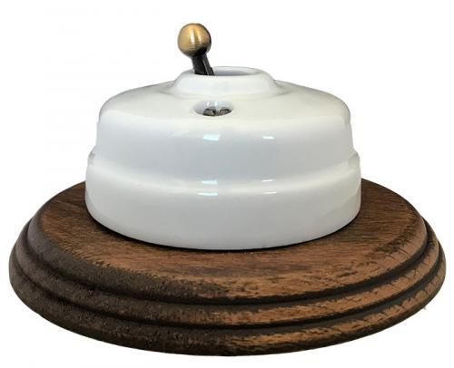 Strömbrytare - Trappströmbrytare porslin/antik brons med träram