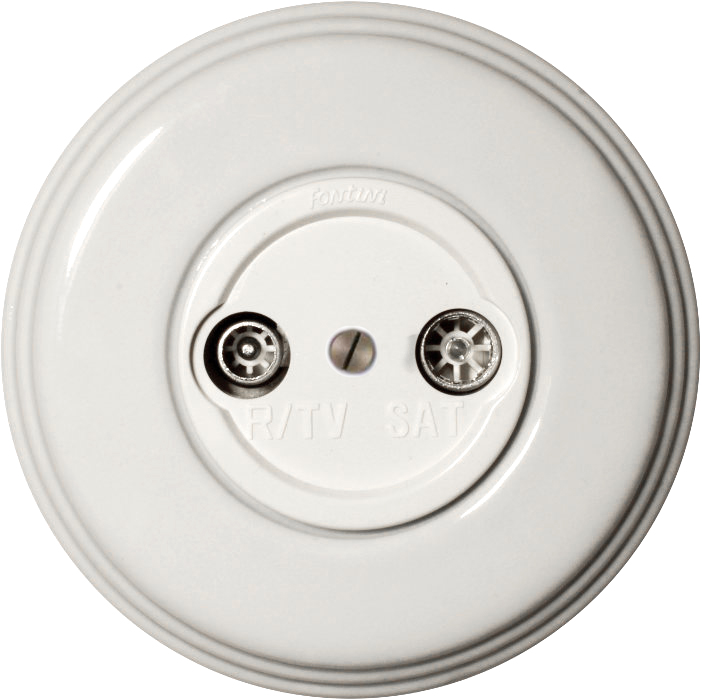 TV/SAT Socket - White porcelain Fontini