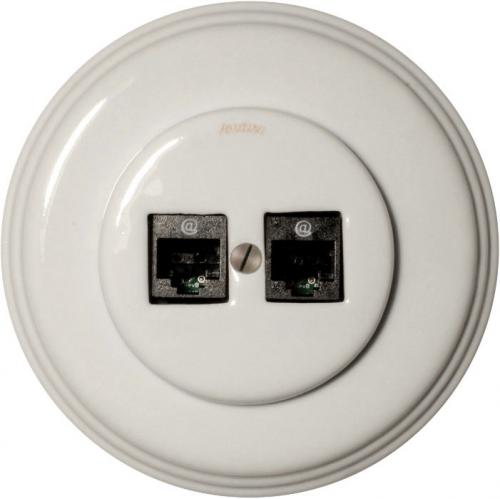 Double RJ45 socket - White porcelain Fontini