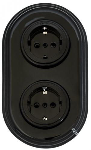 Double socket black retro porcelain - old style - vintage style - classic interior - retro