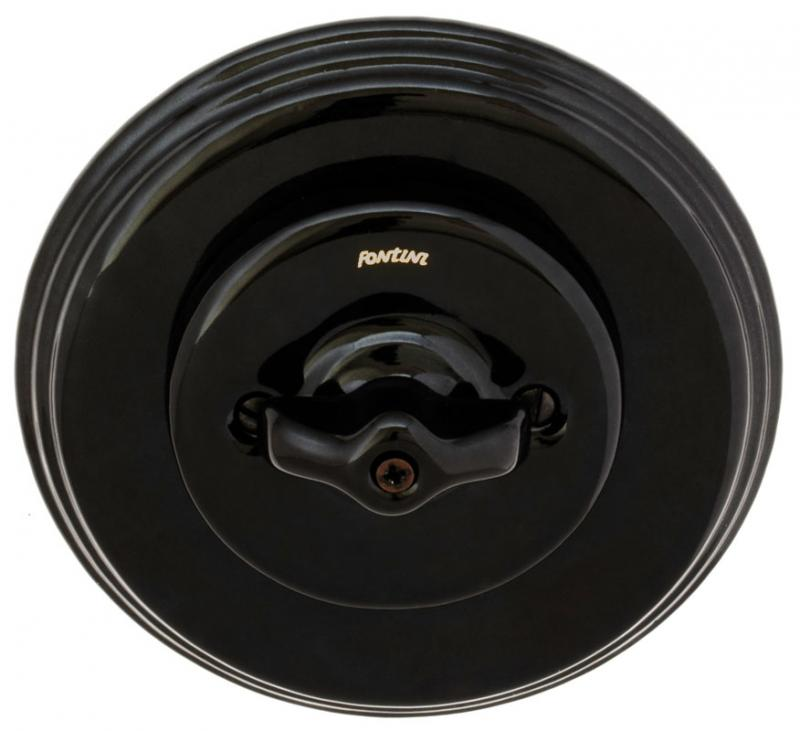 Fontini black porcelain - Rotary double switch