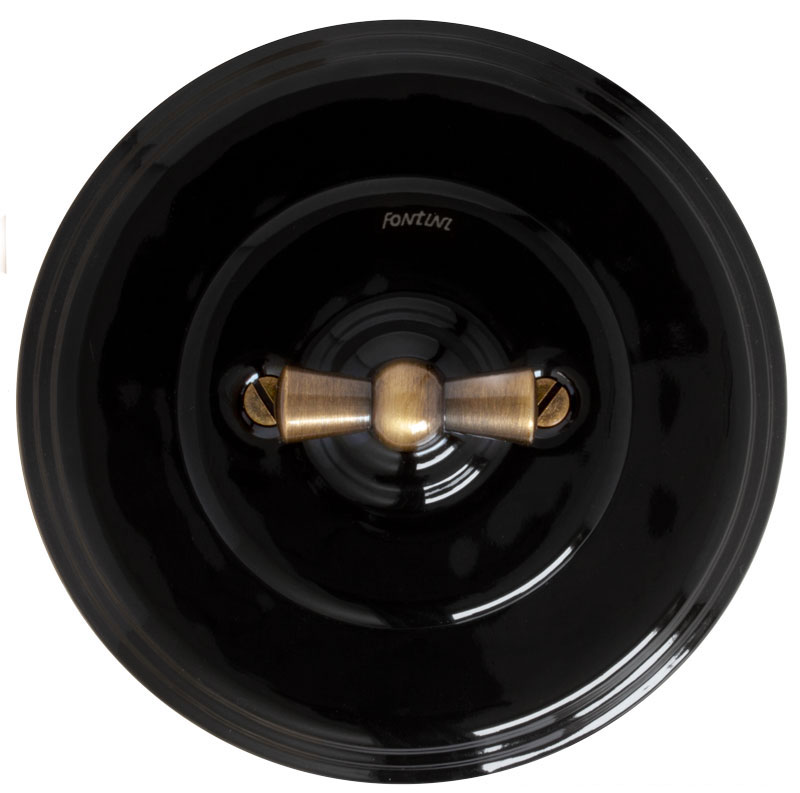Fontini two-way switch - Black porcelain with antique knob