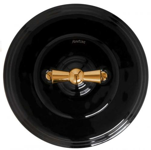 Fontini two-way switch - Black porcelain with brass knob