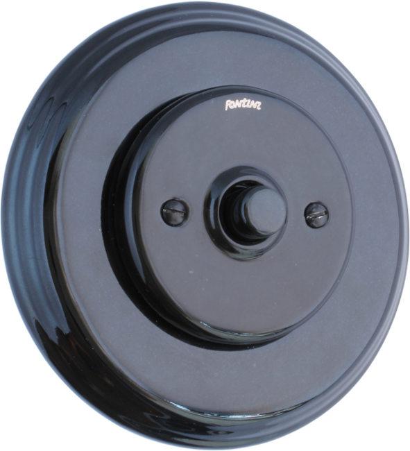 Dimmer Fontini - Black porcelain push button