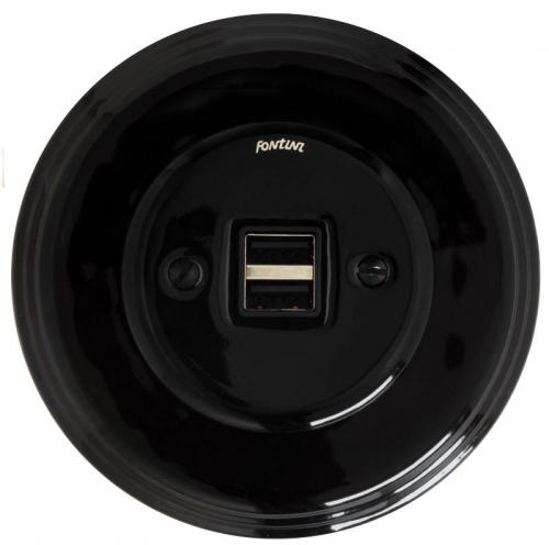 USB socket - Black porcelain, Garby Colonial