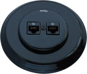 Double RJ45 socket - Black porcelain Fontini
