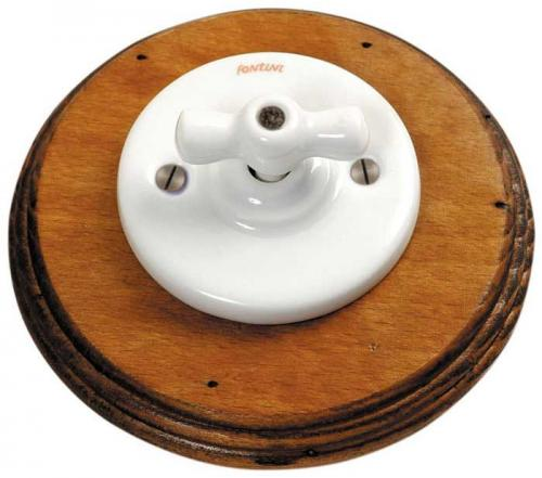 Fontini switch - White porcelain, antique wood