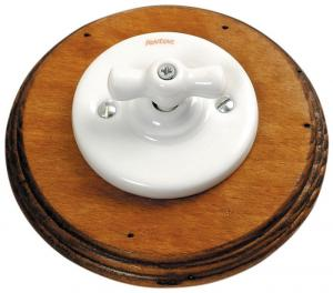 Fontini switch - White porcelain, antique wood