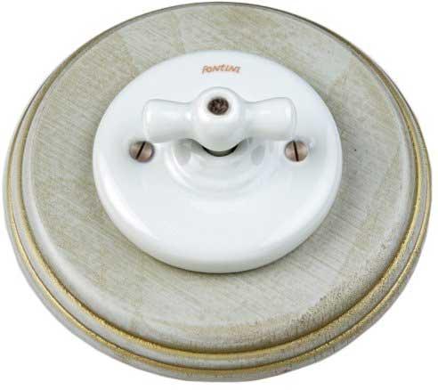 Lysbryter - Trappekobling (vribryter) porselen med grå/gull treramme