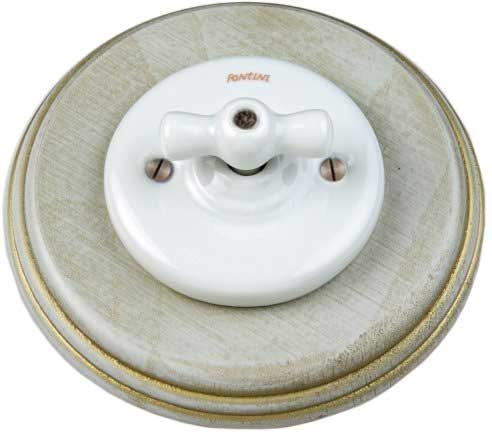 Fontini switch - White porcelain, grey/gold wood