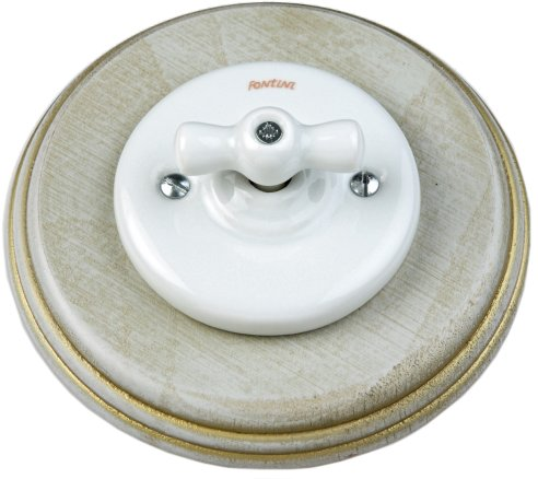 Fontini switch - White porcelain, grey/gold wood - old fashioned style - retro - classic style