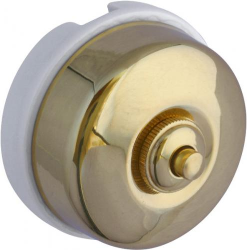 Dimmer - Push-button white porcelain & brass - old style - oldschool interior - vintage style