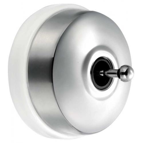 Strömbrytare - Krom/vit porslin (trappströmbrytare)