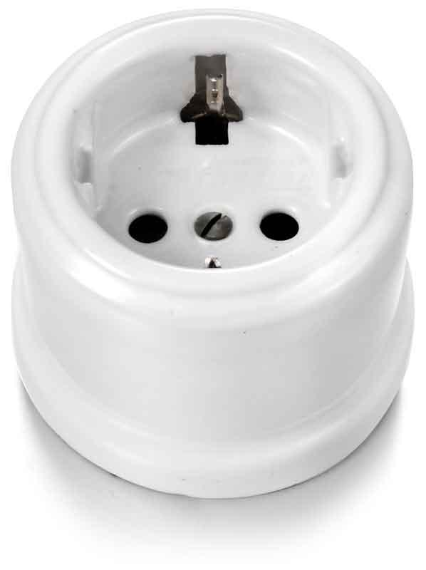 Garby-Schuko Socket 16A/250V Porcelain (With Secur.Shutters)-White Porcelain - sekelskifte - gammaldags inredning - retro - klassisk stil