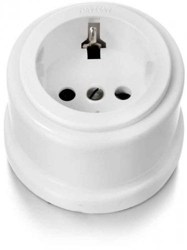 Garby-Schuko Socket 16A/250V Plastic Interior (With Shutters)-White Porcelain - old style - vintage interior - classic style - retro