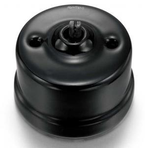 Gammaldags strömbrytare i svart porslin - utan vred