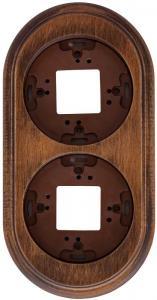 Garby - Träram till strömbrytare - 2 hål mörkbetsat trä - gammaldags inredning - klassisk stil - retro -sekelskifte