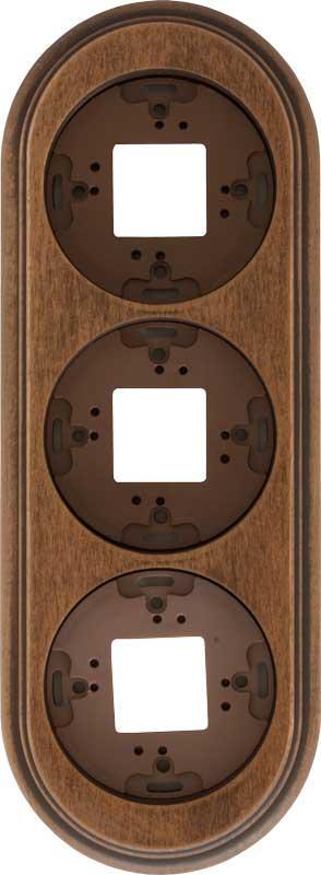 Garby - Treramme til utenpåliggende lysbryter - 3-hulls mørkbeiset tre - arvestykke - gammeldags dekor - klassisk stil - retro - sekelskifte