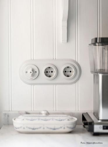2 Pole Schuko Socket 16A-250V, White Porcelain