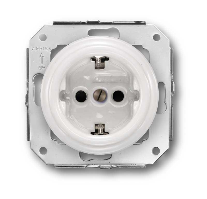 2 Pole Schuko Socket 16A-250V, White Porcelain