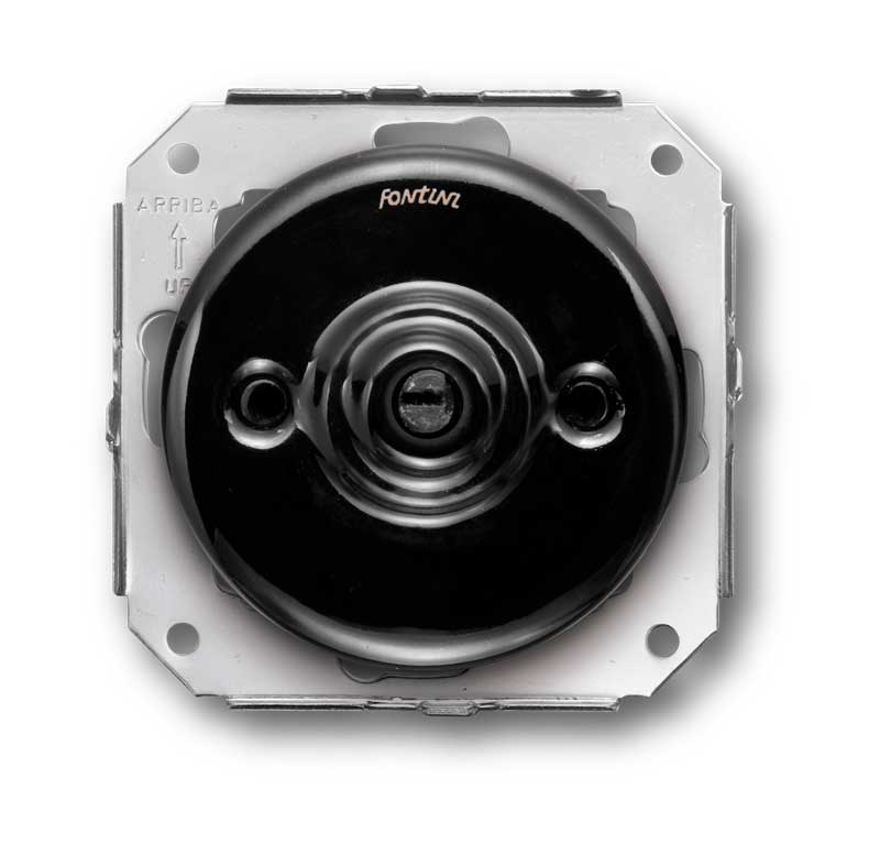 Insert rotary two-way switch - Black porcelain