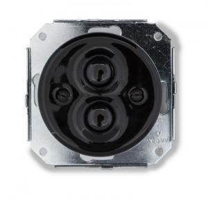 Double push button insert - Black porcelain