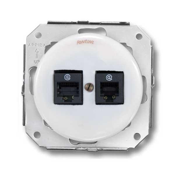 Insert white porcelain - Double RJ45 socket