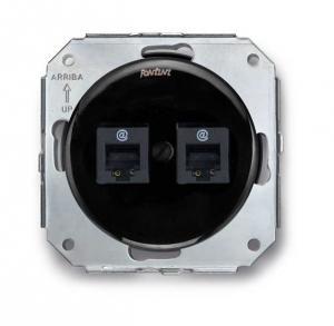 Insert black porcelain - Double RJ45 socket