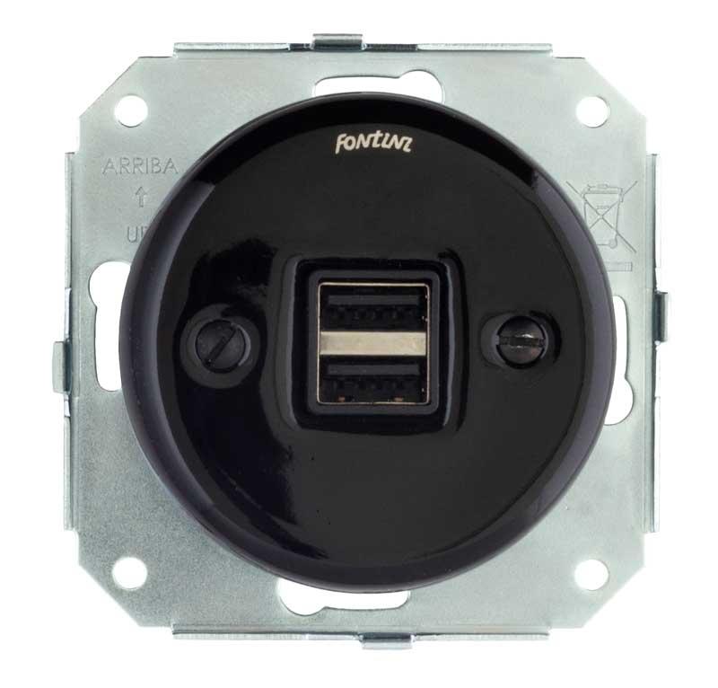 Insert black porcelain - USB socket Garby Colonial