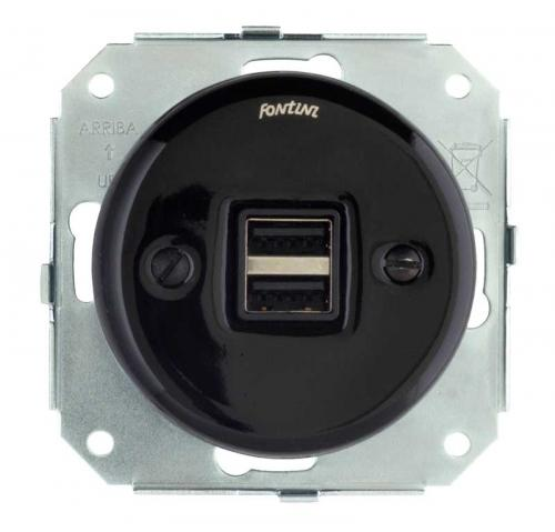 Insert black porcelain - USB socket Garby Colonial