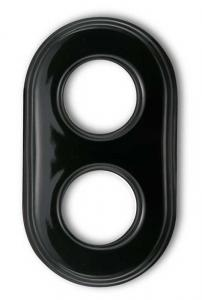 Frame retro switches black porcelain - 2 holes Garby Colonial