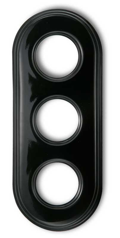 Frame retro switches black porcelain - 3 holes Garby Colonial
