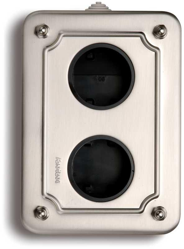 Metal box for surface mounting - Nickel-plated vertical