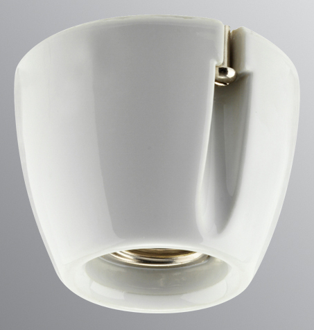 Lamp holder - Basic white porcelain, straight