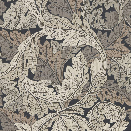 William Morris & Co. Tapet - Acanthus Charcoal/Grey - gammaldags tapet med blad