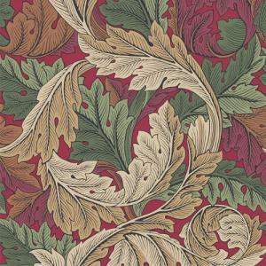 William Morris & Co. Tapet - Acanthus Madder/Thyme - gammaldags tapet med blad