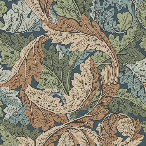 William Morris & Co. Wallpaper - Acanthus Slate Blue/Thyme