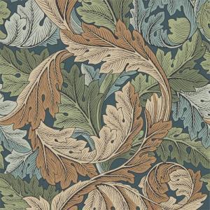 William Morris & Co. Tapet - Acanthus Slate Blue/Thyme - gammaldags tapet med löv