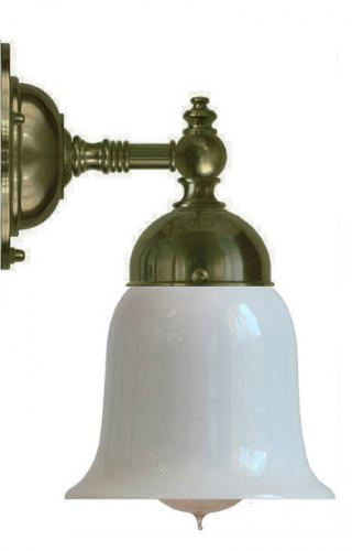 Bathroom Wall Lamp - Adelborg antique brass, opal white bell