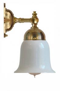 Baderomslampe - Adelborg messing, opalhvit klokke