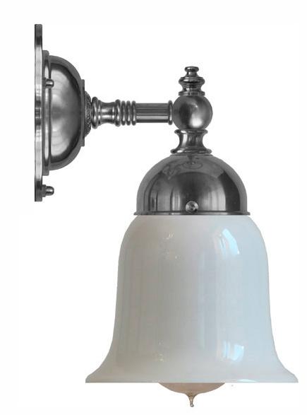 Badrumslampa - Adelborg förnicklad opalvit klocka - gammaldags stil - sekelskifte - gammaldags inredning