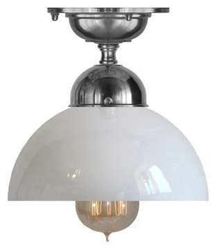 Bathroom Lamp - Ekelund 100 ceiling light nickel rounded glass