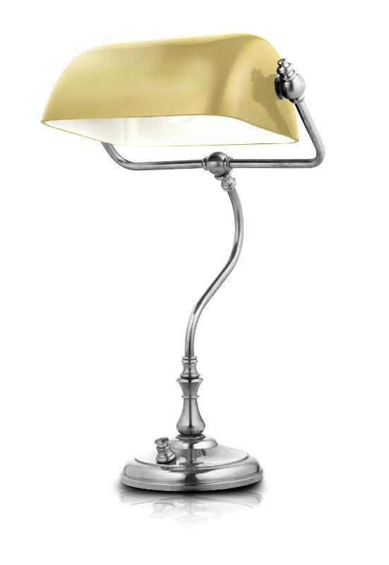 Bankers Lamp - Nickel yellow-white shade