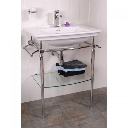 Wash Basin - Heritage Blenheim wash basin 65 cm with chrome washstand and glass shelf