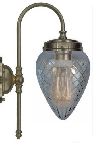 Bathroom Lamp - Blomberg 80 Antique brass clear cut shade