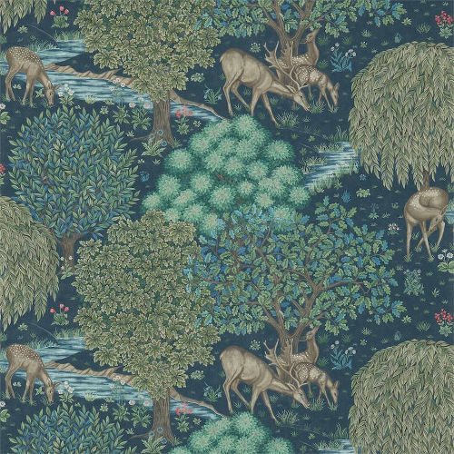 William Morris & Co. Tapet - The Brook Dark Blue - gammaldags tapet