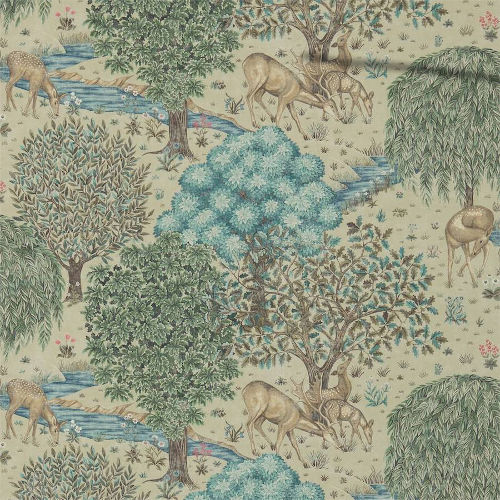 William Morris & Co. Tapet - The Brook Linen Green - gammaldags tapet